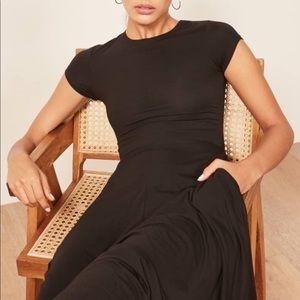 Reformation Ines Black Midi Dress